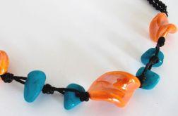 Naszyjnik ceramiczny - pomarańcz z turkusem
