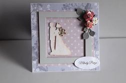 Kartka ślubn na ślub para młoda róże