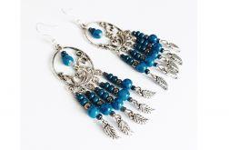 Kolczyki długie indiańskie niebieskie