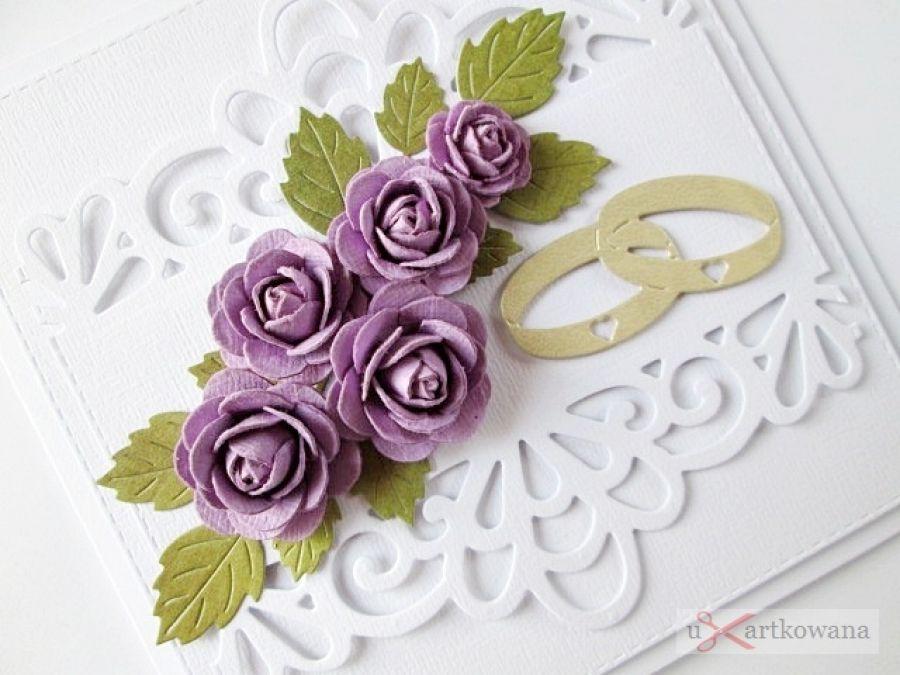 Kartka ŚLUBNA biało-fioletowa /Z - Ażurowa kartka ślubna z różami