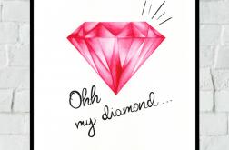 Obrazek/plakat Różowy Diament + RAMKA