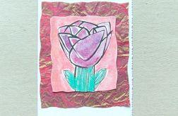 kartka malowana -kwiat