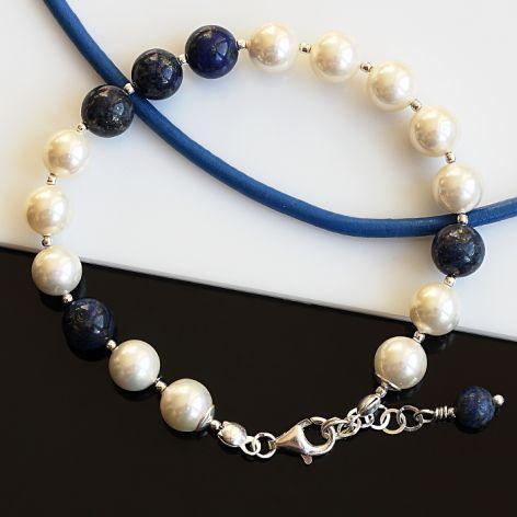Bransoletka z pereł i lapis lazuli