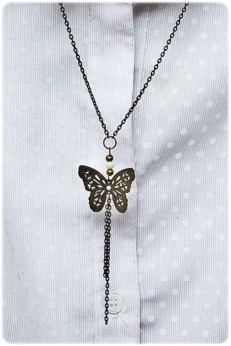 Naszyjnik motylek z perełką -