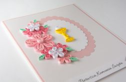 Kartka - Pierwsza Komunia Święta, różowa