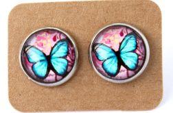 Kolczyki motyle niebiesko-czerwone