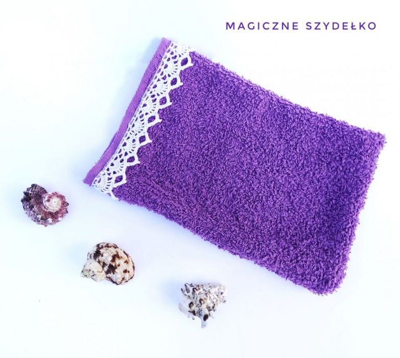 Ręcznik i myjka - Bawełniana myjka z koronką
