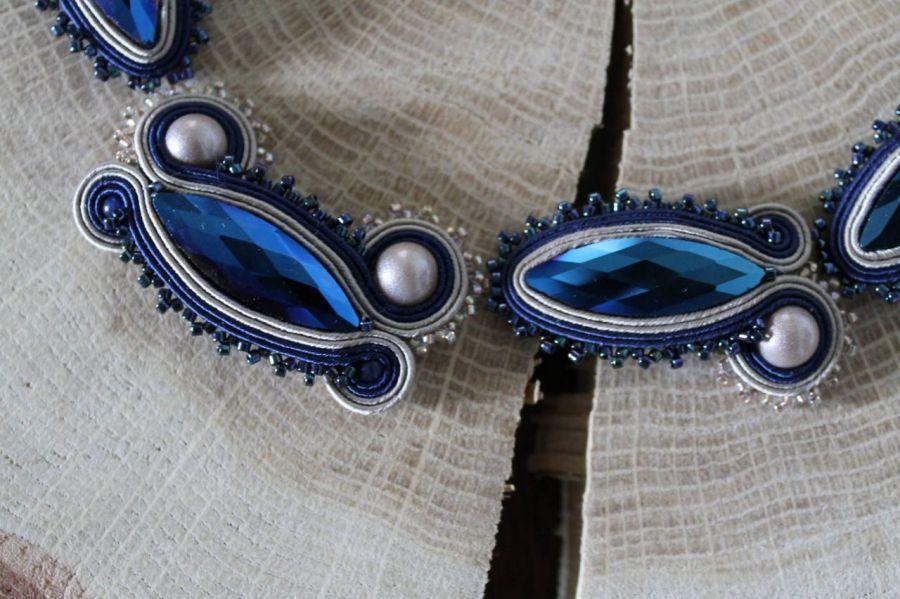 naszyjnik sutasz niebiesko-beżowy - naszyjnik sutasz,kabaszony