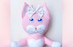 Maskotka kotek różowy z bawełnianej dzianiny