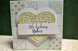 KARTKA DLA BABCI - zielony paczwork