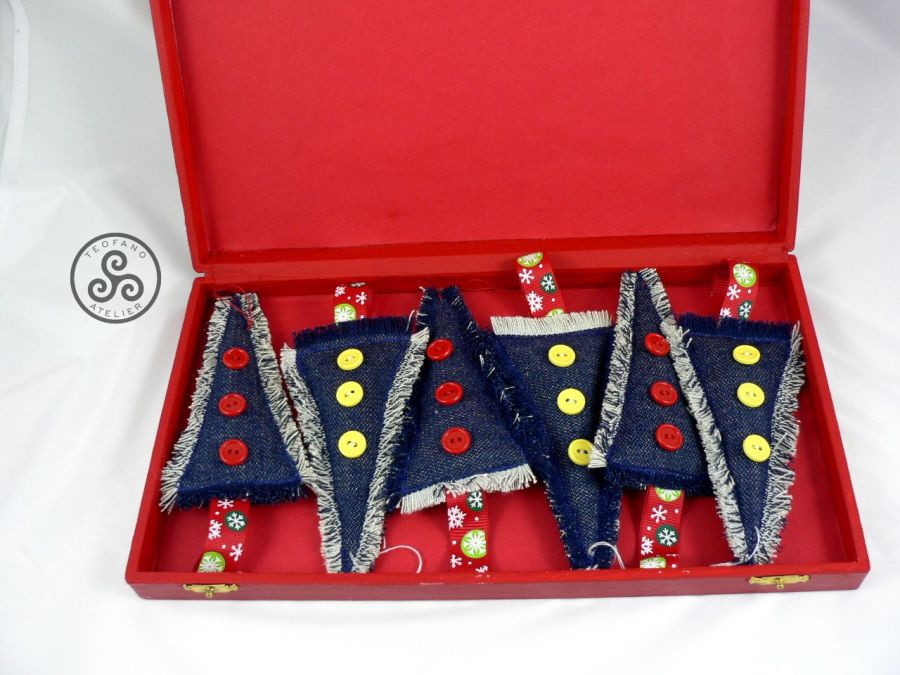 Choinki dżinsowe w pudełku (6sztuk)