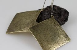 Piaskowe kwadraty - mosiężne kolczyki