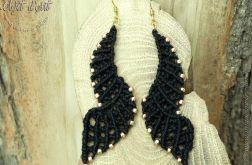 Plecione Kolczyki Eleganckie Czarne Skrzydła