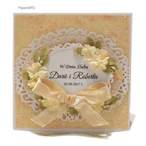 Kartka ślubna jasno-żółta ręcznie robiona