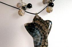 Szary agat pajęczy, elegancki zestaw biżuteri