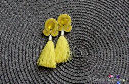 Długie żółte kolczyki sutasz z chwostami