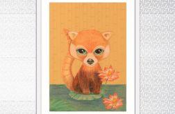 Panda Czerwona, ilustracja dziecięca kredkami