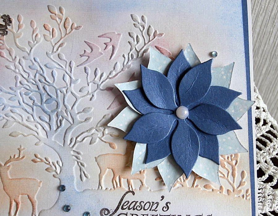 Kartka wytłaczana - Świąteczna poinsecja