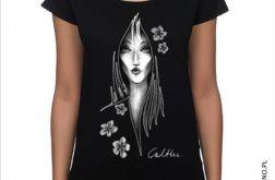 Kwiaty - koszulka oversize - czarna