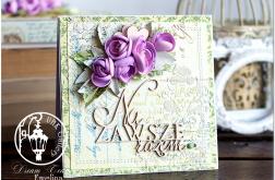 Kartka Ślubna mediowa z tekturką i kwiatami