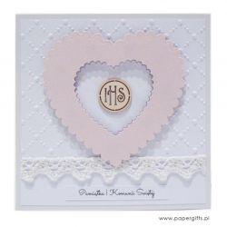 Pamiątka Komunii Św. różowe serce IHS