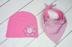 Różowa czapka i chusta dla dziewczynki