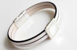 White leather Swarovski