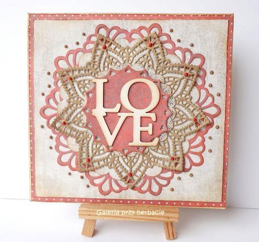 Kartka z mandalą ślubna, lub walentynkowa