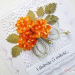Kartka ŚLUBNA biało-pomarańczowa #1