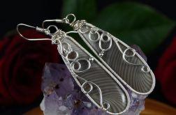 Krzemień pasiasty srebrne kolczyki duże