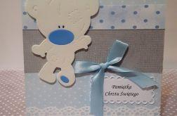 Kartka na Chrzest niebieska miś handmade