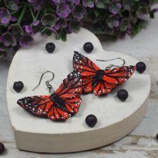 Czerwono czarne kolczyki motyle