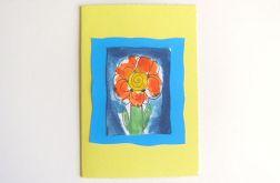 Kartka żółta z kwiatkiem nr 23