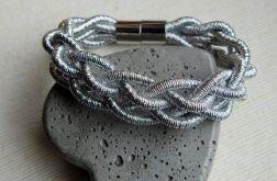 "Bransoletka ""Pleciona"" - srebrny kolor"