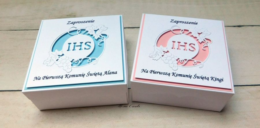 Zaproszenia na Komunię pudełka # IHS # 1