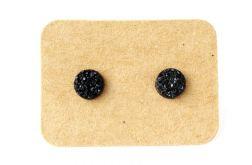 Kolczyki z Żywicy - Druza 6mm Czarne