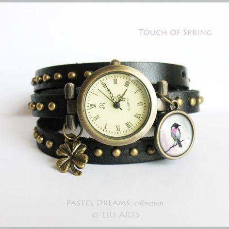 Bransoletka, zegarek - Touch of Spring - czarny, nity, skórzany