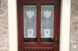 firanka transparentna z lnu z tulipanem