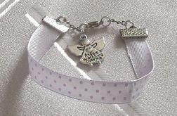 bransoletka wstążka fioletowa z aniołkiem