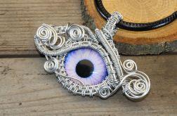 Wisior wire wrapping fioletowe smocze oko