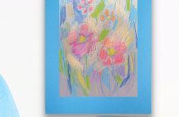 Rysunek kwiaty na niebieskim tle nr 13 szkic