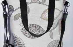 Torebka damska torba miejska liście brąz