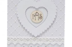 Pamiątka Komunii Świętej białe serce IHS