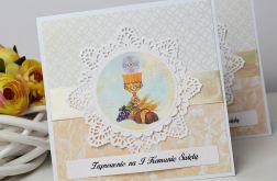 Komunia - zaproszenie brzoskwiniowe