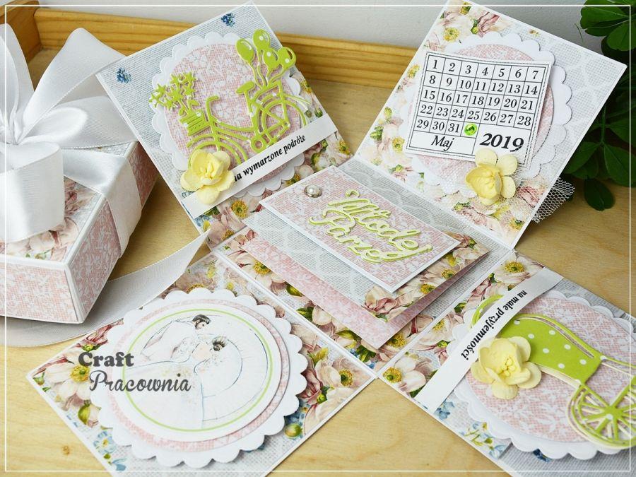 Kwiaty i limonka - ślubny exploding box