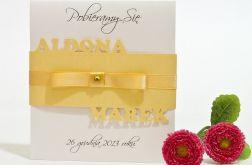 Dwuczęściowe zaproszenie na ślub z wycinanymi imionami 6 kolorów