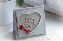 Kartka ślubna z czerwoną kokardą 005