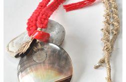3885 długi naszyjnik makrama koral muszla
