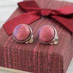 Klipsy Glitter Róż Fiolet