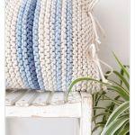 Poduszka Pasiak Blue - Gruba poducha na drutach